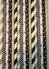 50 black gold paper straws gold black wedding decor 40th