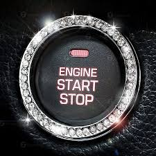 car rings images Chrystal bling ring emblem sticker rhinestone start engine jpeg
