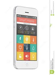 white modern mobile smart phone with smart home application on t