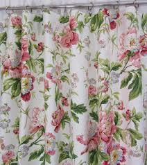 Pink Flower Curtains Cottage Chic Floral Curtains Shabby Chic Drapery Panels