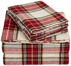 flannel sheet set queen cream red plaid ease bedding with