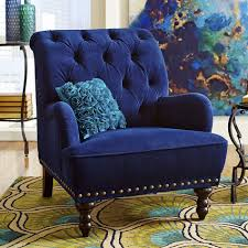 Blue Accent Chair Blue Velvet Tufted Arm Chair Navy Royal Accent Steampunk Victorian