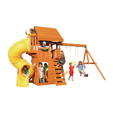 exterior exciting lanscape design with cedar summit playset and