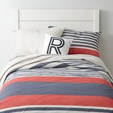 Coastal Quilts Bylines Striped Kids Duvet Blue Red The Land Of Nod