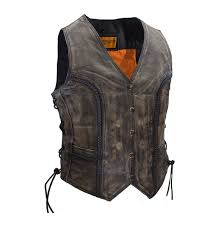 motorcycle jacket vest ladies motorcycle distressed leather vest braided vest side laces