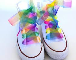 ribbon shoe laces rainbow shoelaces etsy