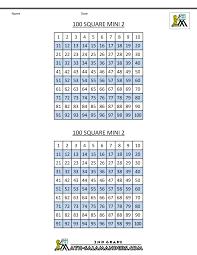 number squares worksheets