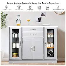 kitchen storage cabinets with doors giantex sideboard buffet server storage cabinet w 2 drawers 3 cabinets and glass doors for kitchen dining room