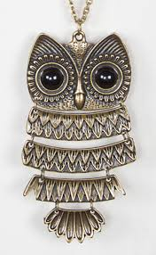 long owl pendant necklace images Women girls vintage retro big eyes owl long pendant chain sweater jpg