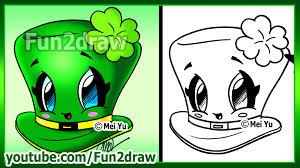 how to draw easy things st patricks day clover hat fun2draw