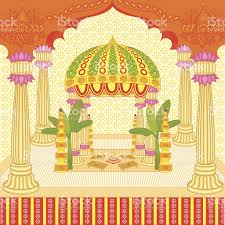Hindu Wedding Mandap Decorations Indian Wedding Mandap Stock Vector Art 462053373 Istock