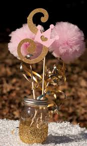 princess birthday party initial pink and gold baby