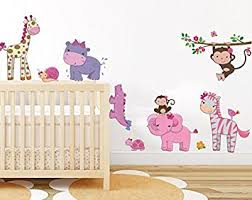 Removable Nursery Wall Decals Pink Girly Animals Wall Sticker Baby Room Jungle Wall