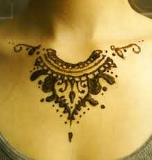 collar bone henna tattoo shared by iseabelle on we heart it
