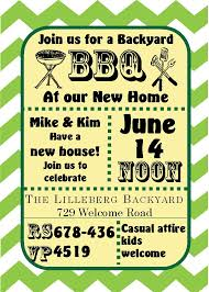green chevron bbq housewarming and open house invitations