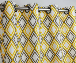Yellow Brown Curtains Yellow Brown Kelp Taupe White Geometric Diamonds Curtains