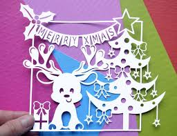 christmas reindeer paper cut svg dxf eps files and pdf png