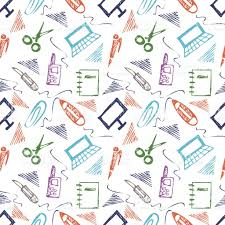 seamless vector pattern with elements of office supplies colorful