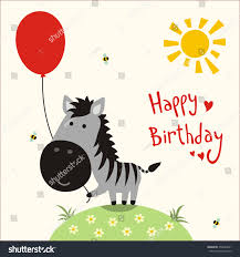 happy birthday vector card funny little stock vector 259834691