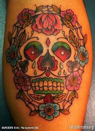 sugar skulls with flowers skull tattoos tattoomagz