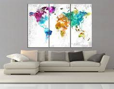3 panel ready to hang world map with wonders of the world canvas