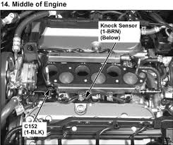 location of knock sensor on a 2005 acura rl