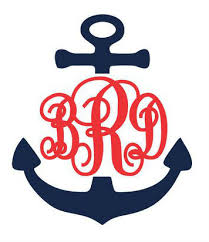 monogram initials anchor decal stitches and such