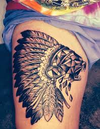 tribal indian tattoo on thigh tattoos mob