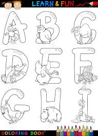 cartoon alphabet coloring book or page set with funny animals