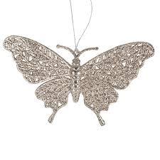 pearl glitter butterfly hanging decoration with fretwork wings