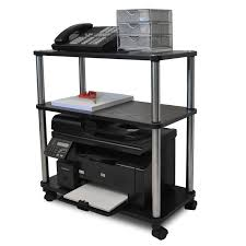 computer and printer table 3 shelf mobile home office caddy printer stand cart in black