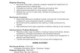 warehouse worker resume resume sle for warehouse worker