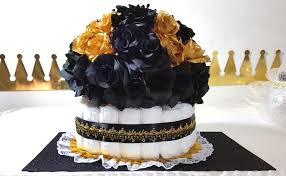 black u0026 gold diaper cake centerpiece for prince baby shower