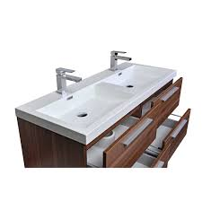 buy 47 inch wall mounted modern bathroom vanity in walnut