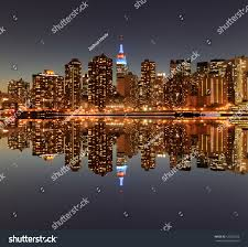 manhattan skyline midtown manhattan skyline night lights new stock photo 126250226