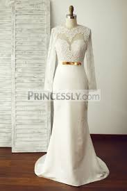long lace sleeves backless ivory satin wedding dress