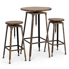 Adjustable Bar Table Belleze 3pc Adjustable Pub Table And Stools Vintage Antique Bistro