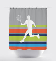 Grey And White Striped Shower Curtain Custom Striped Tennis Themed Shower Curtain For Boys U2013 Shop
