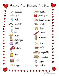 bnute productions printable valentine food pair game