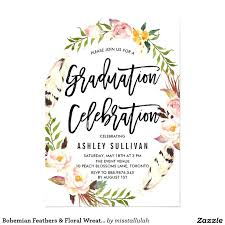 grad party invitations graduation party invitations together with bohemian feathers