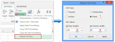 how to set column width and row height for a range in excel