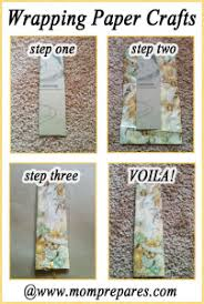 Paper Craft Steps - leftover wrapping paper craft bookmark prepares