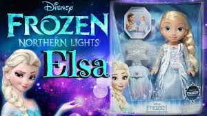 disney frozen northern lights elsa music and light up dress frozen northern lights elsa doll lights up and sings unboxing and
