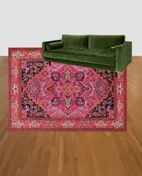 Thrift Rugs Colorful Living Room Refresh Green Couch And Pink Rug And Then