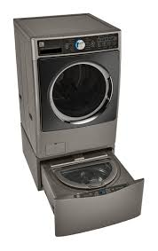 Pedestal Washing Machine Kenmore Elite 51973 1 0 Cu Ft Pedestal Washer U2013 Metallic Silver