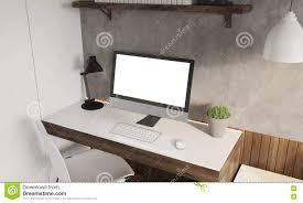 close up computer on desk at home stock illustration image