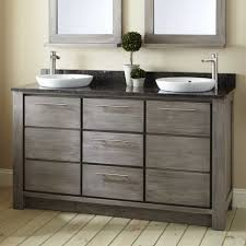 bathroom divine ash grey wooden vaughan basset cabinet bathroom divine ash grey wooden vaughan basset cabinet vanity five drawers using satin nickel pull handle combined double circle white vessel