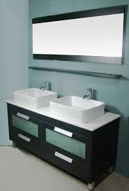 Double Basin Vanity Adorna 55 Inch Double Sink Vanity Set Composite Stone Top