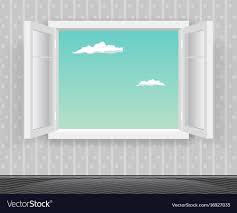 home interior vector open glass window frame home interior vector image