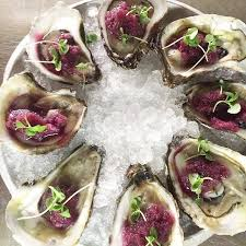 mignonette cuisine oysters with grape vodka mignonette city crab and seafood co